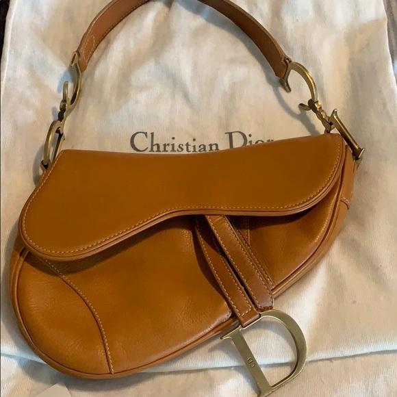 Dior Handbags - Vintage Christian Dior Saddle Tan Leather Bag.